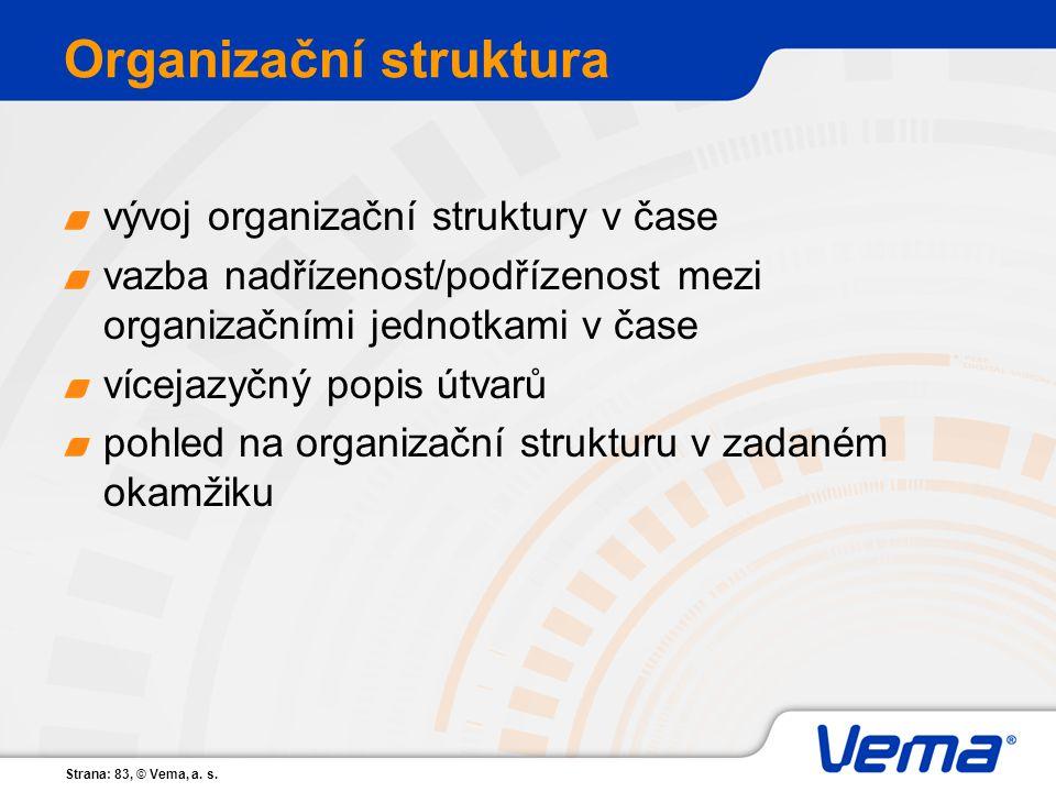 Strana: 83, © Vema, a. s. Organizační struktura vývoj organizační struktury v čase vazba nadřízenost/podřízenost mezi organizačními jednotkami v čase