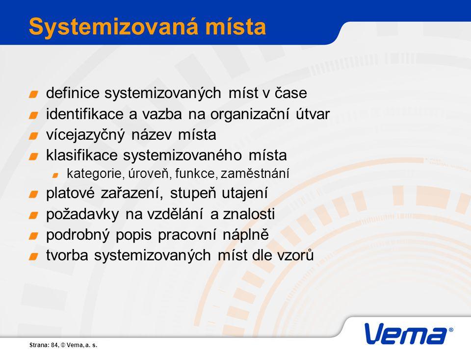 Strana: 84, © Vema, a. s. Systemizovaná místa definice systemizovaných míst v čase identifikace a vazba na organizační útvar vícejazyčný název místa k