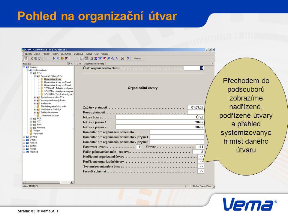 Strana: 85, © Vema, a. s. Pohled na organizační útvar Přechodem do podsouborů zobrazíme nadřízené, podřízené útvary a přehled systemizovanýc h míst da