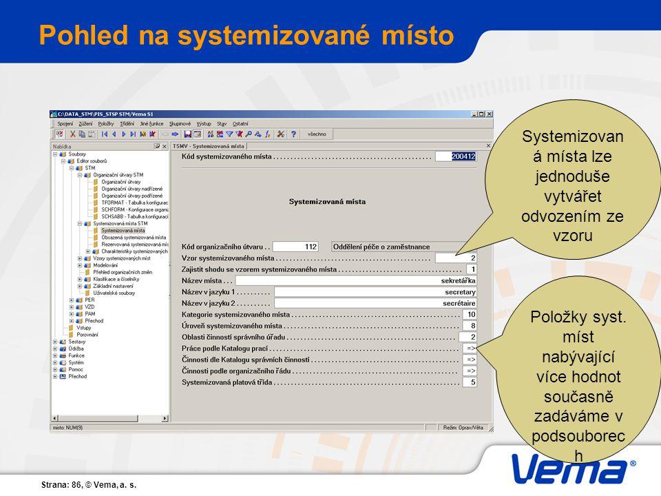 Strana: 86, © Vema, a. s. Pohled na systemizované místo Systemizovan á místa lze jednoduše vytvářet odvozením ze vzoru Položky syst. míst nabývající v