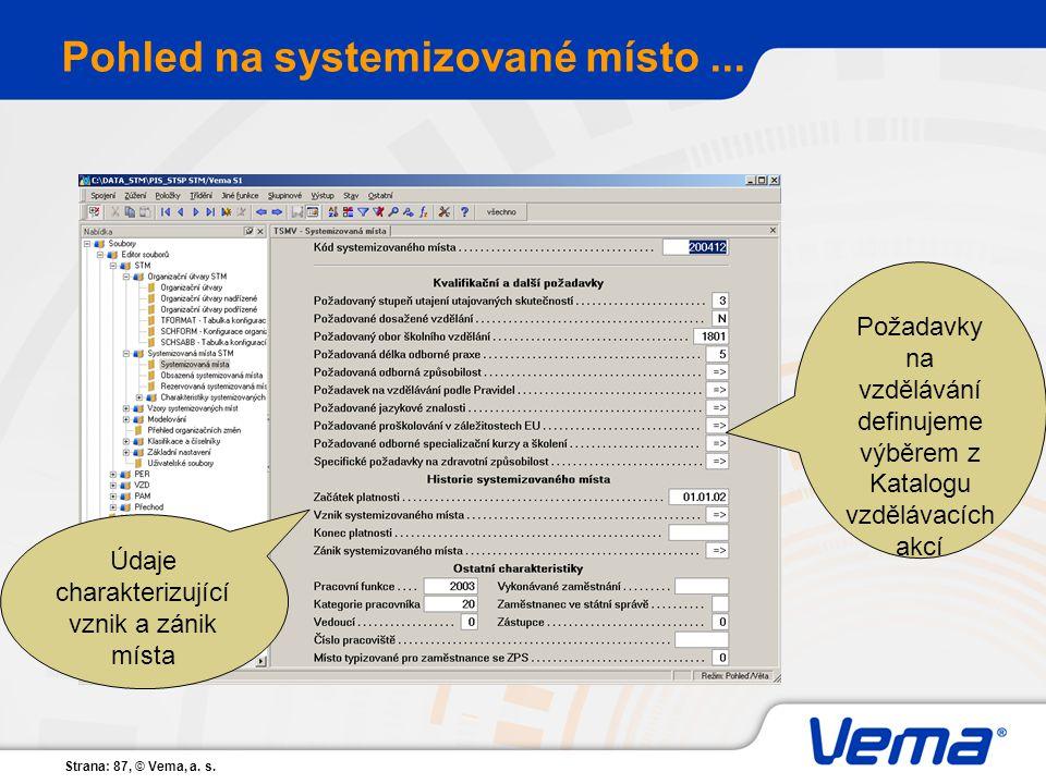 Strana: 87, © Vema, a. s. Pohled na systemizované místo... Údaje charakterizující vznik a zánik místa Požadavky na vzdělávání definujeme výběrem z Kat