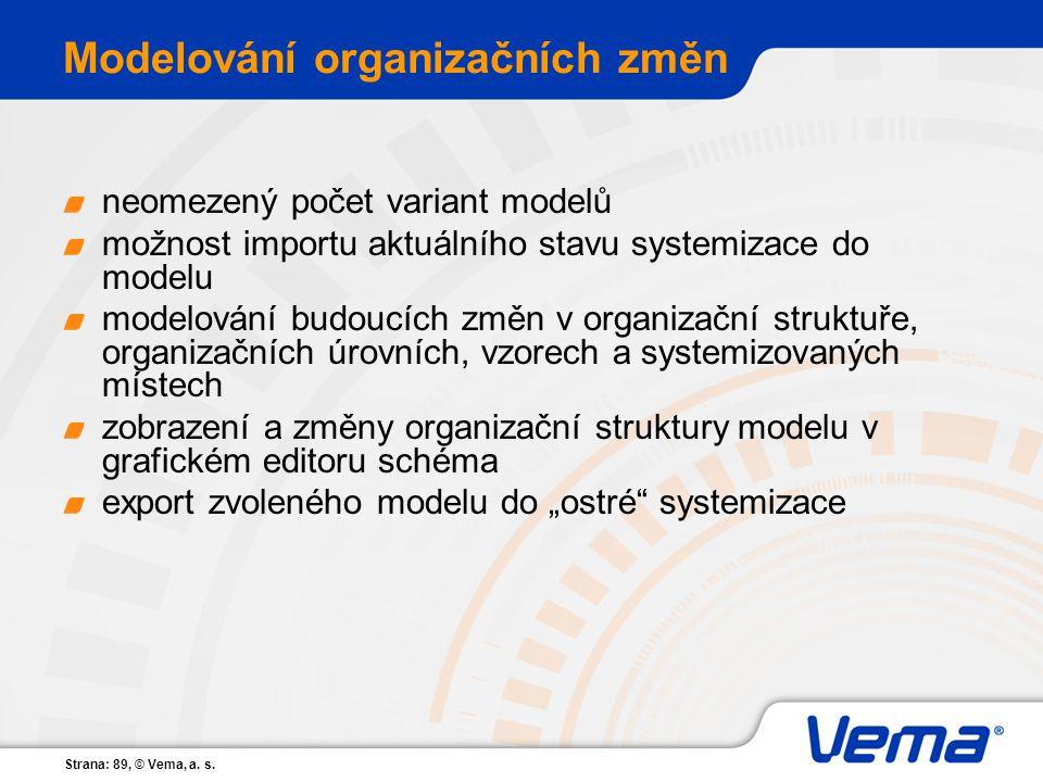 Strana: 89, © Vema, a. s. Modelování organizačních změn neomezený počet variant modelů možnost importu aktuálního stavu systemizace do modelu modelová