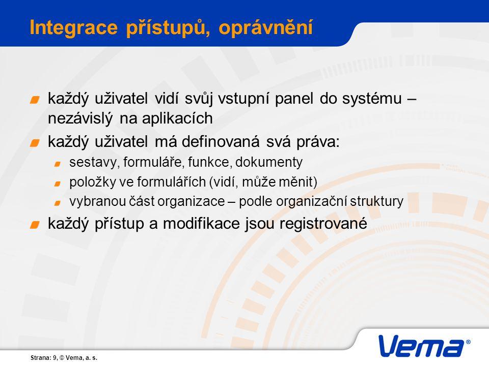 Strana: 9, © Vema, a. s. Integrace přístupů, oprávnění každý uživatel vidí svůj vstupní panel do systému – nezávislý na aplikacích každý uživatel má d