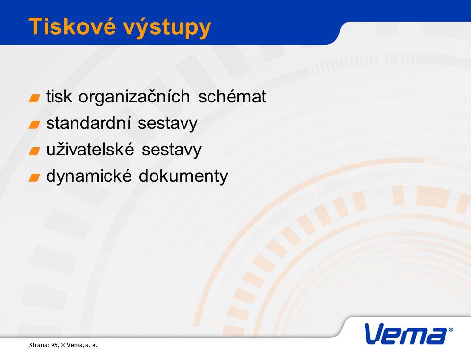 Strana: 95, © Vema, a. s. Tiskové výstupy tisk organizačních schémat standardní sestavy uživatelské sestavy dynamické dokumenty
