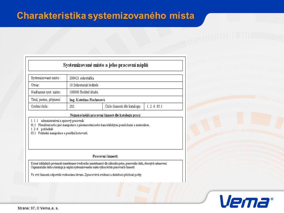 Strana: 97, © Vema, a. s. Charakteristika systemizovaného místa