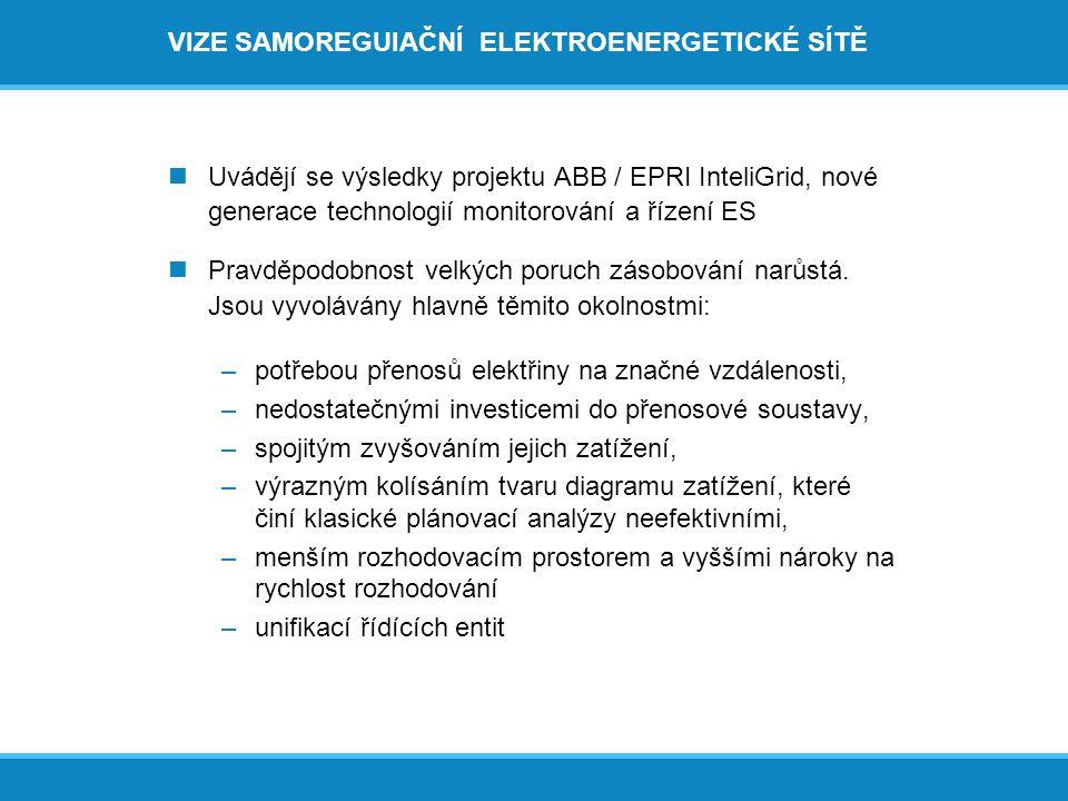 VIZE SAMOREGUlAČNÍ ELEKTROENERGETICKÉ SÍTĚ  Uvádějí se výsledky projektu ABB / EPRI InteliGrid, nové generace technologií monitorování a řízení ES  Pravděpodobnost velkých poruch zásobování narůstá.