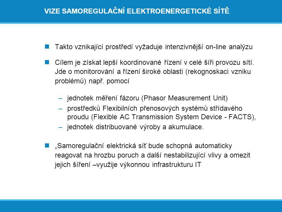 VIZE SAMOREGULAČNÍ ELEKTROENERGETICKÉ SÍTĚ  Takto vznikající prostředí vyžaduje intenzivnější on-line analýzu  Cílem je získat lepší koordinované řízení v celé šíři provozu sítí.