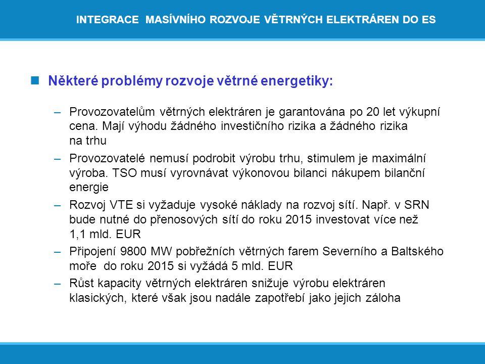 INTEGRACE MASÍVNÍHO ROZVOJE VĚTRNÝCH ELEKTRÁREN DO ES  Některé problémy rozvoje větrné energetiky: –Provozovatelům větrných elektráren je garantována po 20 let výkupní cena.