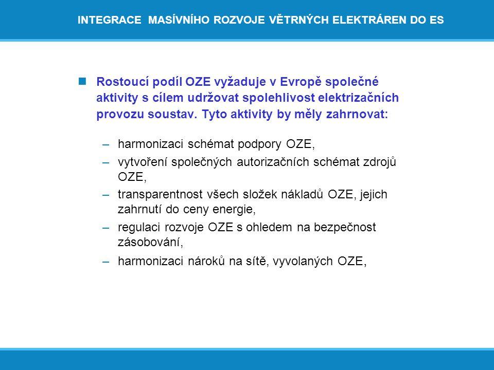 INTEGRACE MASÍVNÍHO ROZVOJE VĚTRNÝCH ELEKTRÁREN DO ES  Rostoucí podíl OZE vyžaduje v Evropě společné aktivity s cílem udržovat spolehlivost elektrizačních provozu soustav.