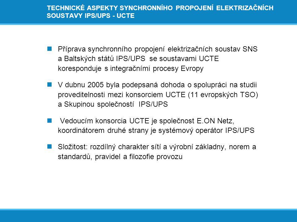 TECHNICKÉ ASPEKTY SYNCHRONNÍHO PROPOJENÍ ELEKTRIZAČNÍCH SOUSTAVY IPS/UPS - UCTE  Východní synchronní oblast zahrnuje státy SNS, má instalovaný výkon 335 GW a roční výrobu 1200 TWh (8 časových pásem, vedení 1050 kV)  Západní synchronní oblast zahrnuje ES 23 zemí Evropy při instalovaném výkonu 610 GW a výrobě 2500 TWh