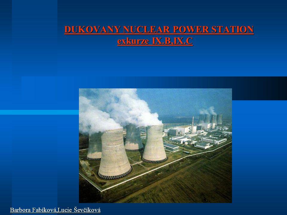 DUKOVANY NUCLEAR POWER STATION exkurze IX.B,IX.C DUKOVANY NUCLEAR POWER STATION exkurze IX.B,IX.C Barbora Fabíková,Lucie Ševčíková