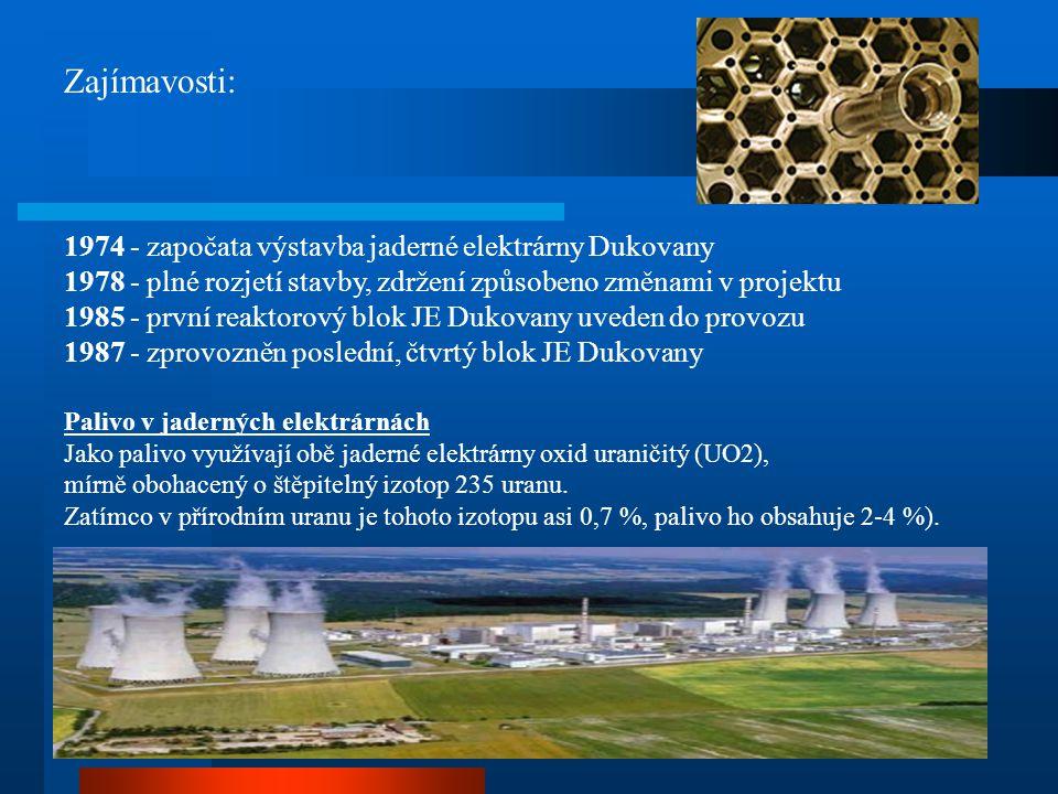 Zajímavosti: 1974 - započata výstavba jaderné elektrárny Dukovany 1978 - plné rozjetí stavby, zdržení způsobeno změnami v projektu 1985 - první reakto