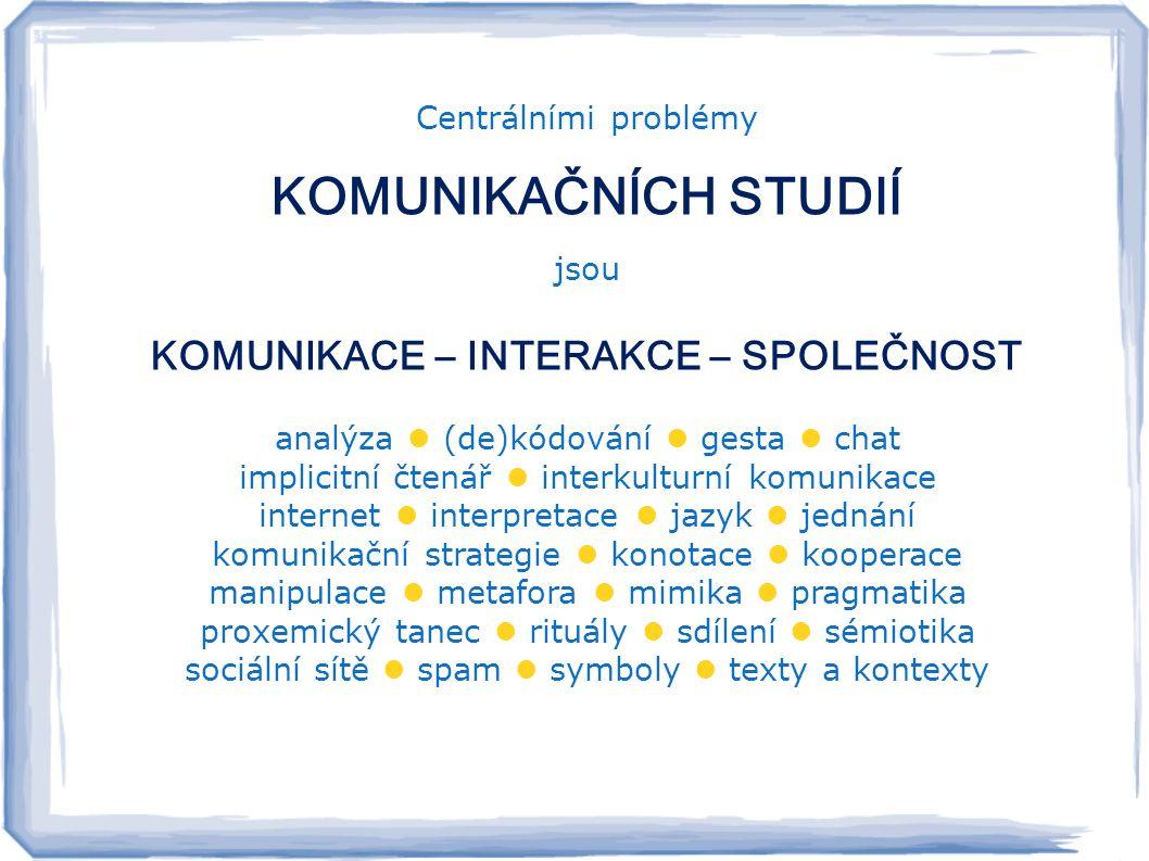 Centrálními problémy KOMUNIKAČNÍCH STUDIÍ jsou KOMUNIKACE – INTERAKCE – SPOLEČNOST analýza  (de)kódování  gesta  chat implicitní čtenář  interkulturní komunikace internet  interpretace  jazyk  jednání komunikační strategie  konotace  kooperace manipulace  metafora  mimika  pragmatika proxemický tanec  rituály  sdílení  sémiotika sociální sítě  spam  symboly  texty a kontexty