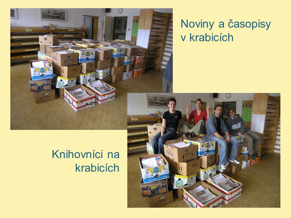 Noviny a časopisy v krabicích Knihovníci na krabicích