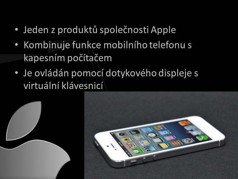 • Jeden z produktů společnosti Apple • Kombinuje funkce mobilního telefonu s kapesním počítačem • Je ovládán pomocí dotykového displeje s virtuální klávesnicí