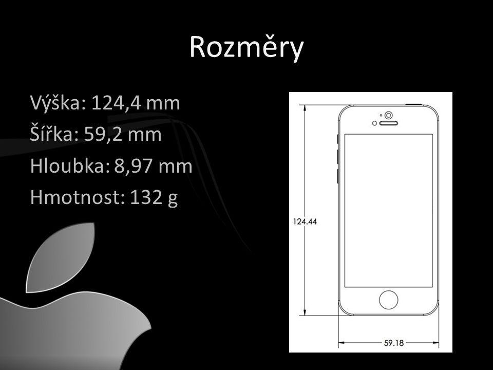 Rozměry Výška: 124,4 mm Šířka: 59,2 mm Hloubka: 8,97 mm Hmotnost: 132 g