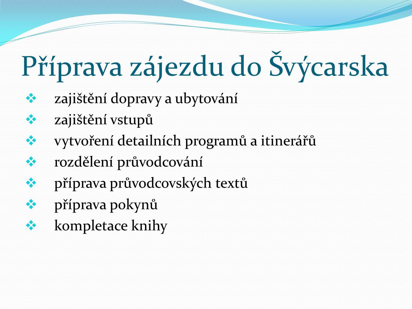 Příprava zájezdu do Švýcarska  zájezd hotov na konci Srpna  odjezd dne 20.