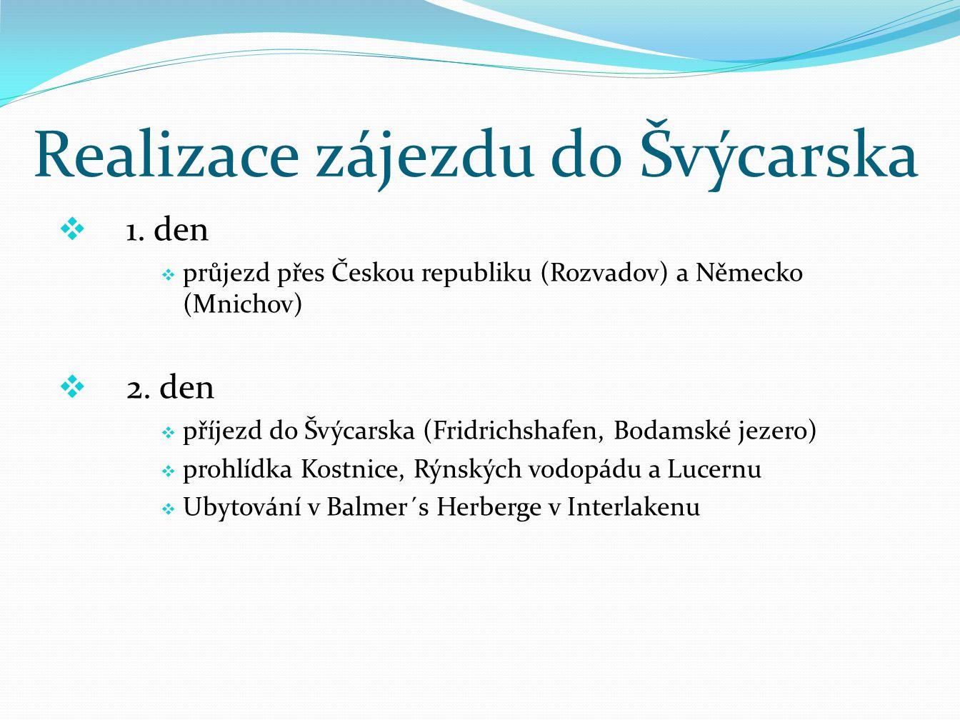 Realizace zájezdu do Švýcarska  1.