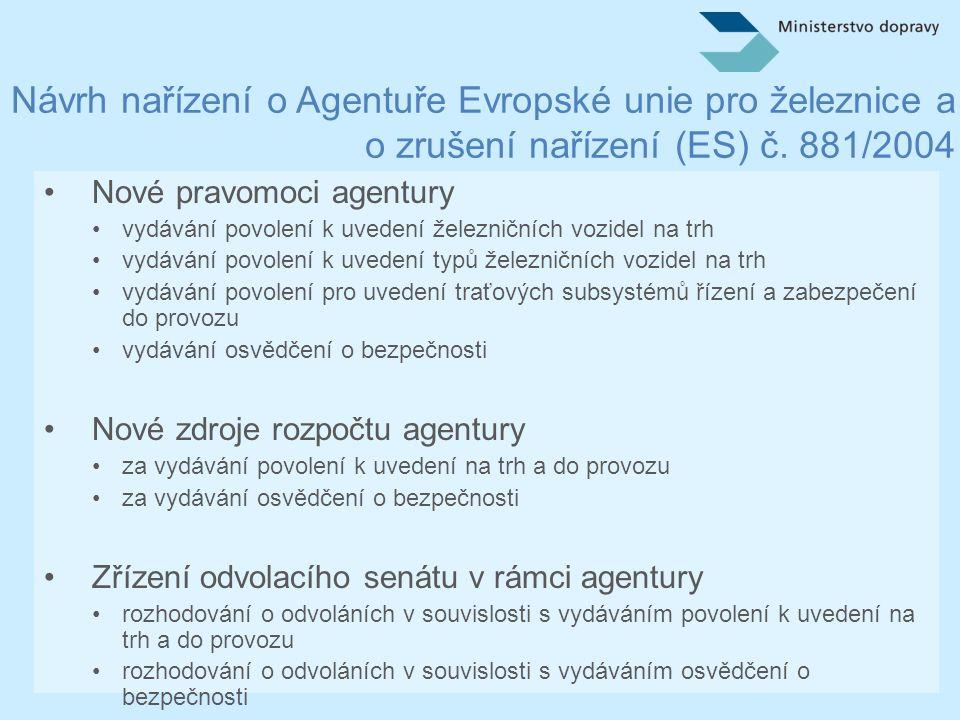 Návrh nařízení o Agentuře Evropské unie pro železnice a o zrušení nařízení (ES) č.