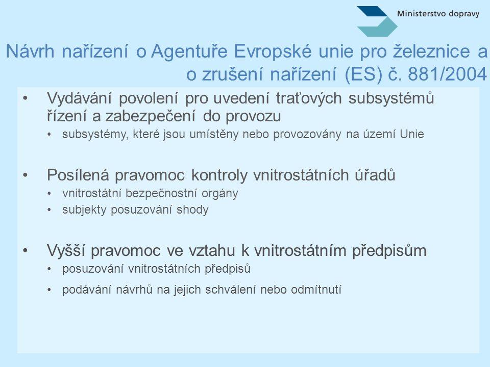 Návrh směrnice o interoperabilitě železničního systému v Evropské unii •Rozšíření geografické oblasti působnosti •TSI platné na celé železniční síti EU •Upřesnění technické oblasti působnosti •vyloučení podzemních drah, tramvají a městských kolejových systémů •vyloučení funkčně oddělených sítí •Zpřesnění terminologie •modernizace (úprava subsystému nebo jeho části, která vede ke změně v souboru technické dokumentace přiloženém k ES prohlášení o ověření, pokud tento technický soubor existuje, a která zlepšuje celkovou výkonnost subsystému) •obnova (náhrada subsystému nebo jeho části, která nemění celkovou výkonnost subsystému)