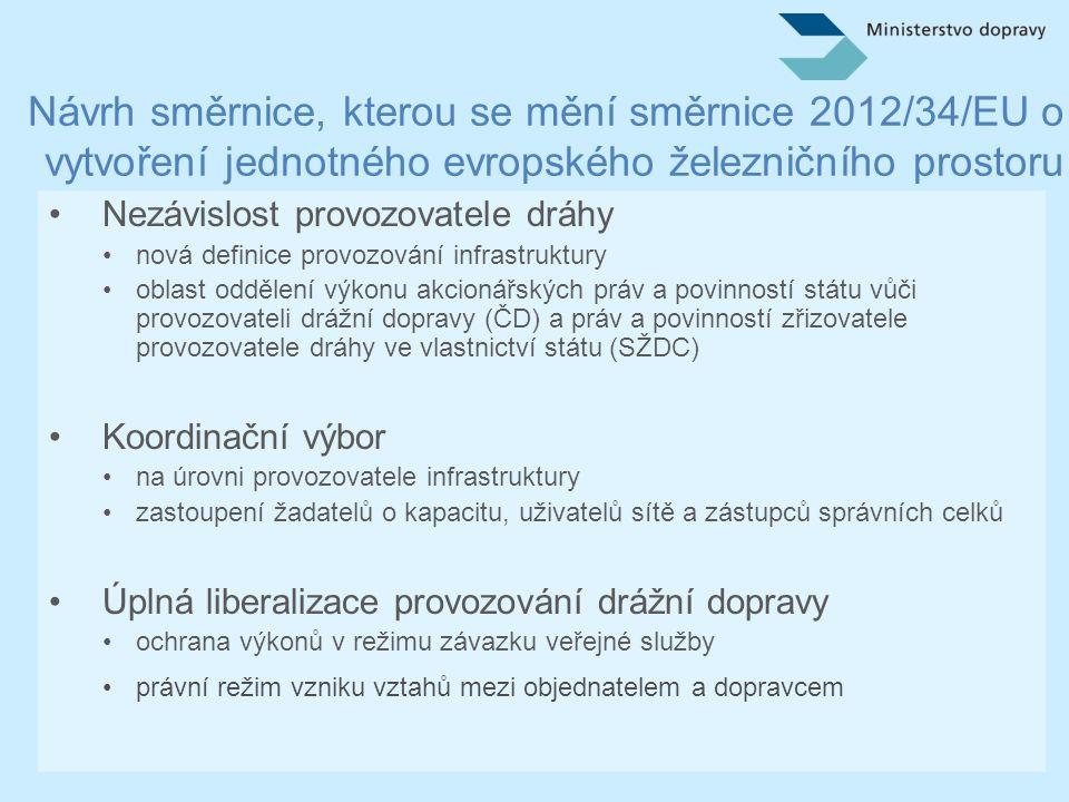Návrh směrnice, kterou se mění směrnice 2012/34/EU o vytvoření jednotného evropského železničního prostoru •Společný informační systém a integrace tarifních pravidel •systém integrované síťové distribuce jízdních dokladů vs.