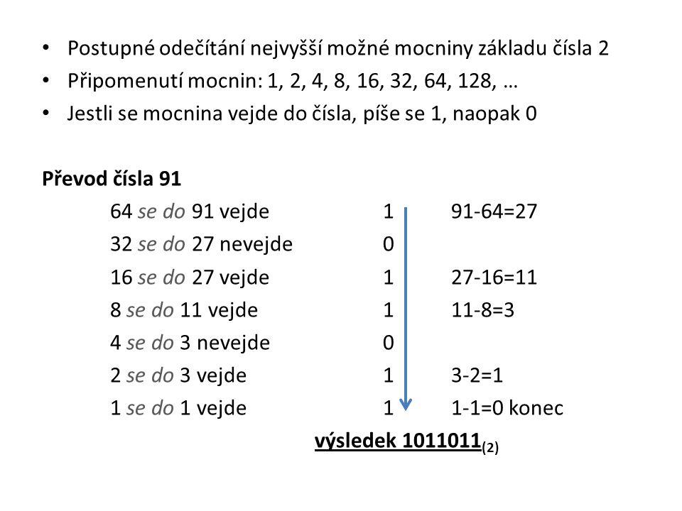• Postupné odečítání nejvyšší možné mocniny základu čísla 2 • Připomenutí mocnin: 1, 2, 4, 8, 16, 32, 64, 128, … • Jestli se mocnina vejde do čísla, p