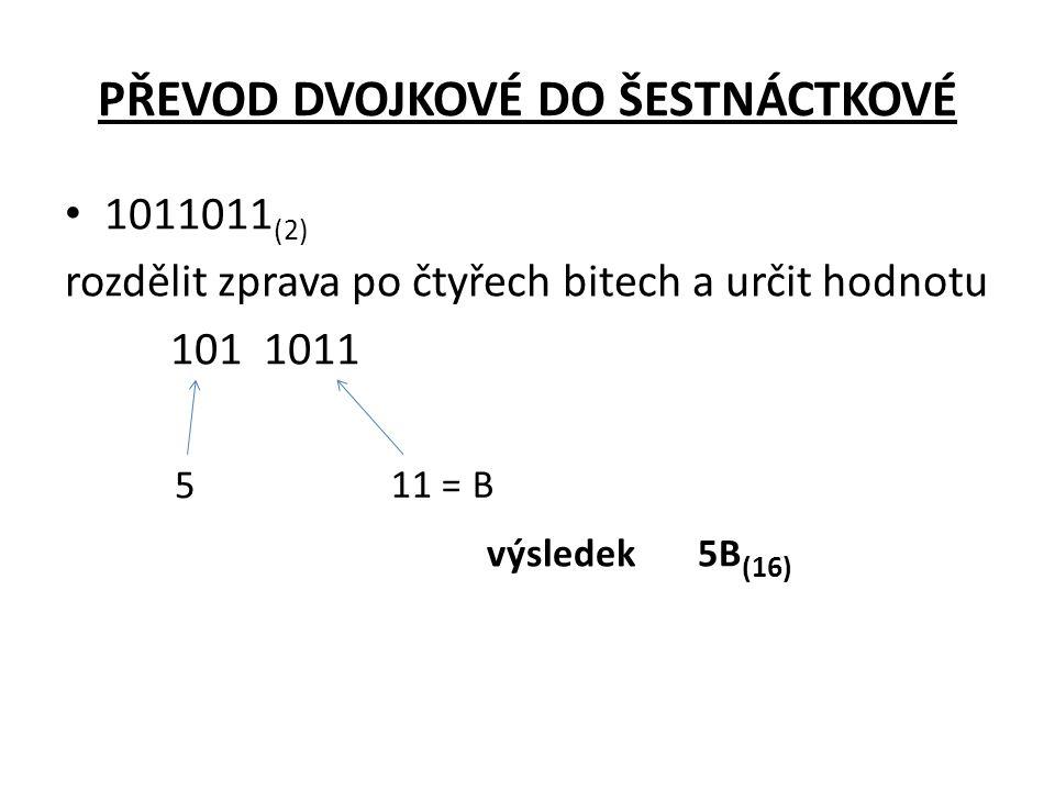 PŘEVOD DVOJKOVÉ DO ŠESTNÁCTKOVÉ • 1011011 (2) rozdělit zprava po čtyřech bitech a určit hodnotu 101 1011 výsledek 5B (16) 5 11 = B