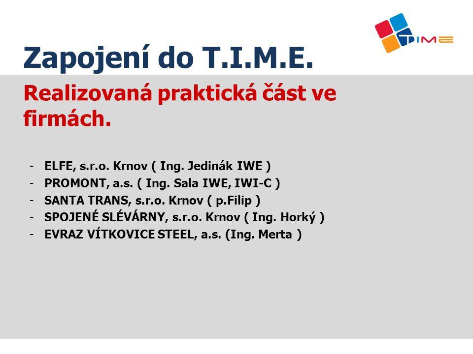 Realizovaná praktická část ve firmách. -ELFE, s.r.o. Krnov ( Ing. Jedinák IWE ) -PROMONT, a.s. ( Ing. Sala IWE, IWI-C ) -SANTA TRANS, s.r.o. Krnov ( p