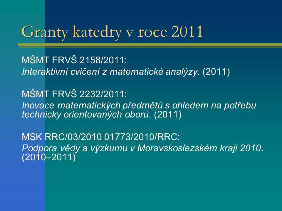 Granty katedry v roce 2011 MŠMT FRVŠ 2158/2011: Interaktivní cvičení z matematické analýzy. (2011) MŠMT FRVŠ 2232/2011: Inovace matematických předmětů