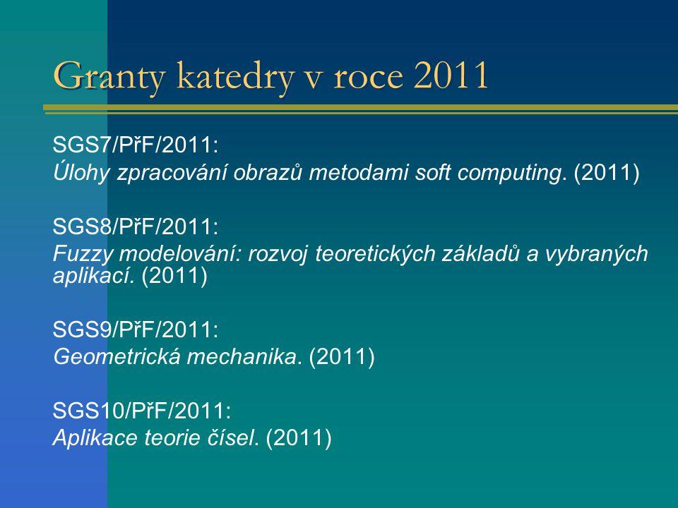 Granty katedry v roce 2011 SGS7/PřF/2011: Úlohy zpracování obrazů metodami soft computing. (2011) SGS8/PřF/2011: Fuzzy modelování: rozvoj teoretických