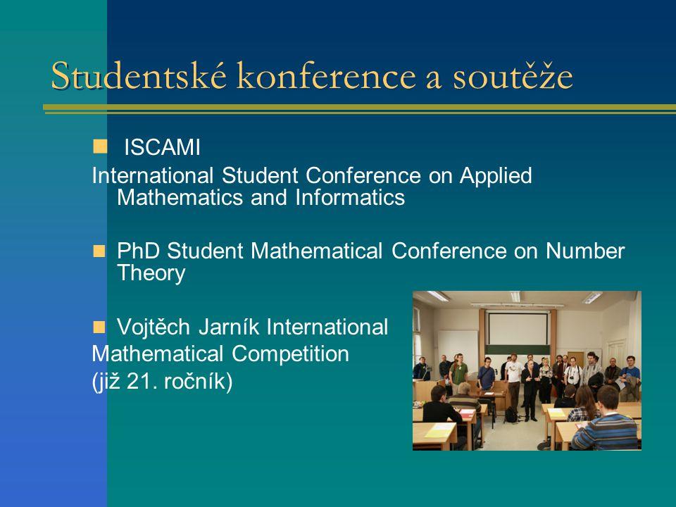 Studentské konference a soutěže  ISCAMI International Student Conference on Applied Mathematics and Informatics  PhD Student Mathematical Conference