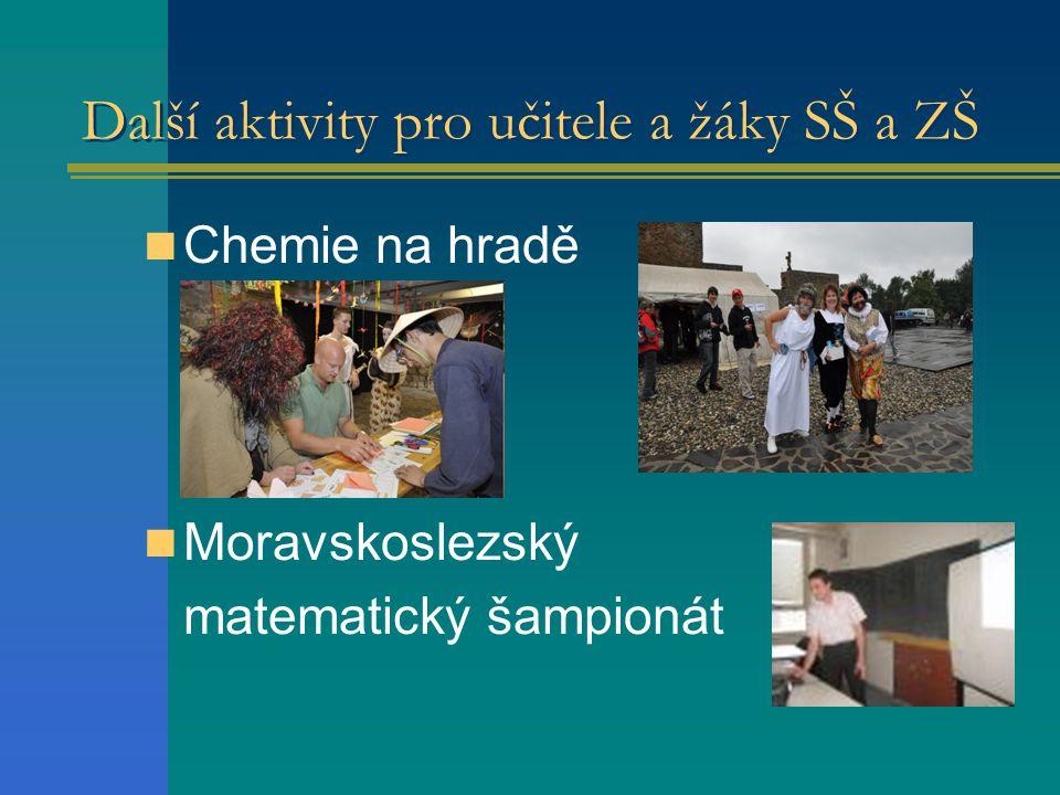 Další aktivity pro učitele a žáky SŠ a ZŠ  Chemie na hradě  Moravskoslezský matematický šampionát
