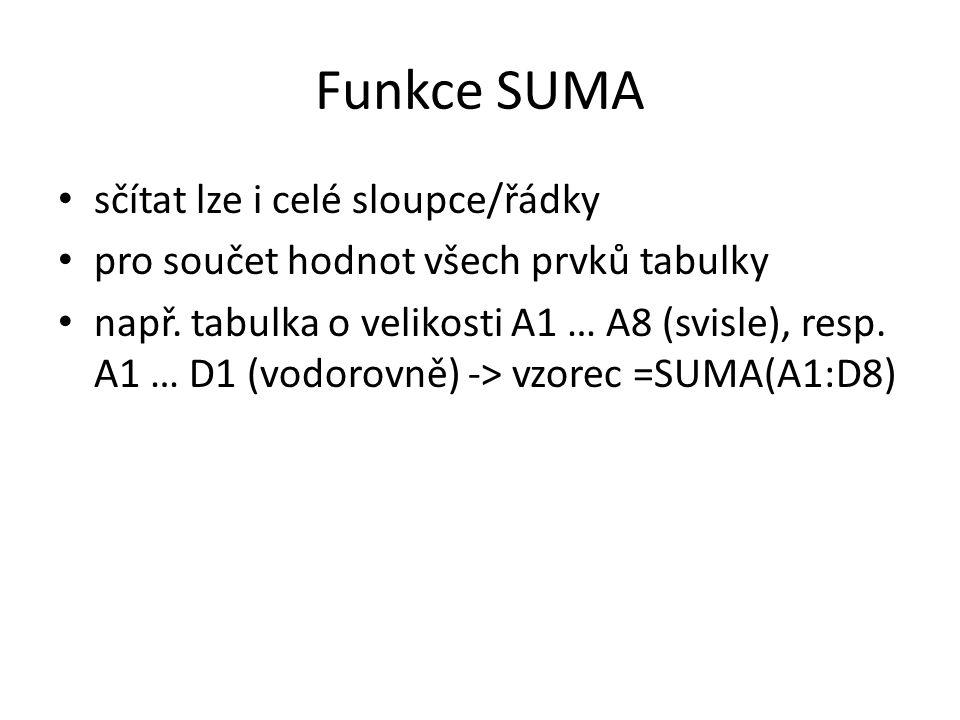 Funkce SUMA • sčítat lze i celé sloupce/řádky • pro součet hodnot všech prvků tabulky • např. tabulka o velikosti A1 … A8 (svisle), resp. A1 … D1 (vod