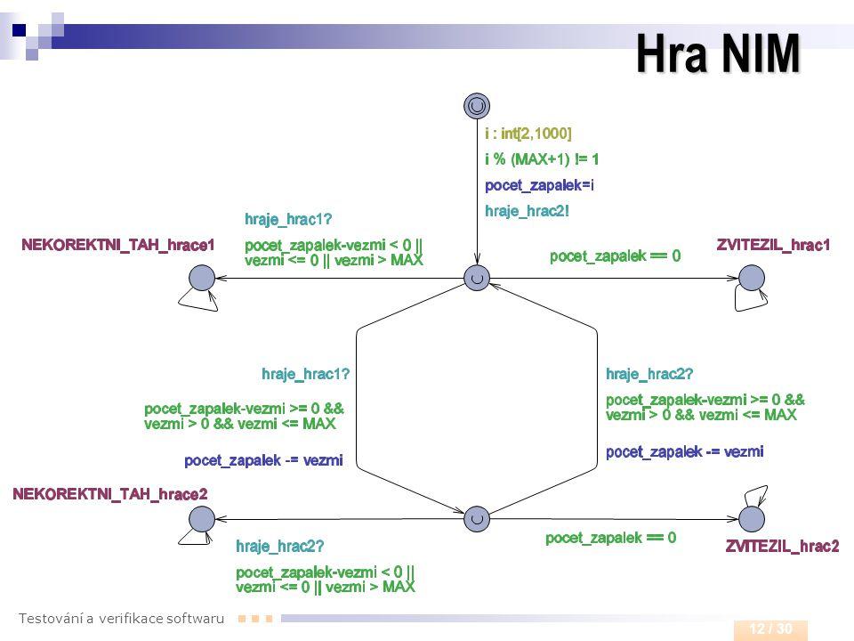 Testování a verifikace softwaru 12 / 30 Hra NIM