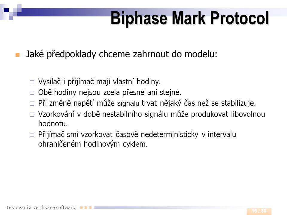 Testování a verifikace softwaru 16 / 30 Biphase Mark Protocol  Jaké předpoklady chceme zahrnout do modelu:  Vysílač i přijímač mají vlastní hodiny.
