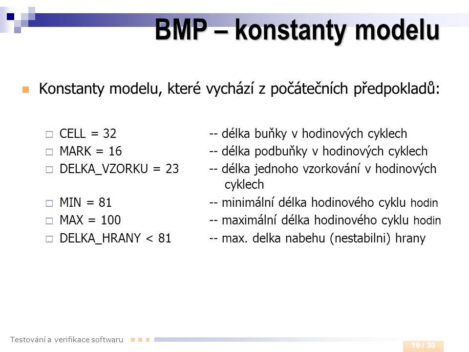 Testování a verifikace softwaru 19 / 30 BMP – konstanty modelu  Konstanty modelu, které vychází z počátečních předpokladů:  CELL = 32 -- délka buňky