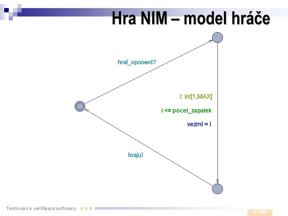 Testování a verifikace softwaru 5 / 30 Hra NIM – model hráče i <= pocet_zapalek