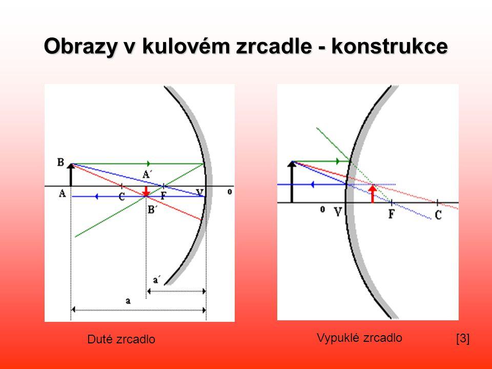 Zobrazovací rovnice kulového zrcadla •a…vzdálenost předmětu od vrcholu zrcadla •a´….vzdálenost obrazu od vrcholu zrcadla – je-li kladné =obraz skutečný, je-li záporné = obraz zdánlivý ZVĚTŠENÍ •y..výška předmětu y´..výška obrazu Z je kladné = obraz vzpřímený, Z je záporné = obraz převrácený.