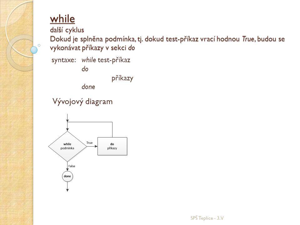 while další cyklus Dokud je splněna podmínka, tj. dokud test-příkaz vrací hodnou True, budou se vykonávat příkazy v sekci do SPŠ Teplice - 3.V syntaxe