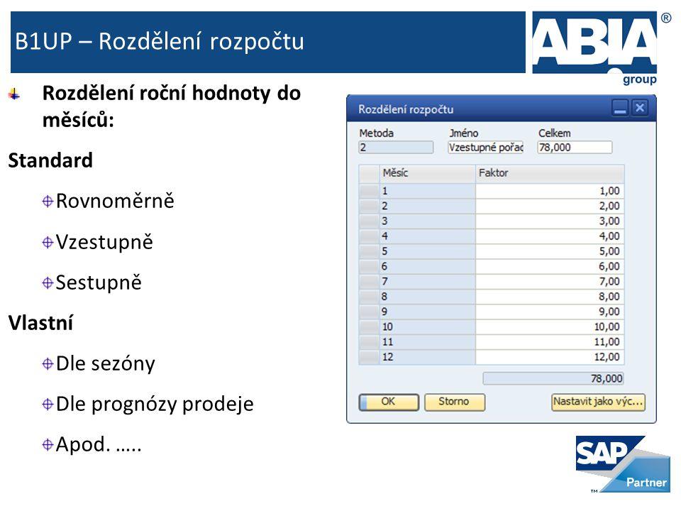 B1UP – Rozdělení rozpočtu Rozdělení roční hodnoty do měsíců: Standard Rovnoměrně Vzestupně Sestupně Vlastní Dle sezóny Dle prognózy prodeje Apod.
