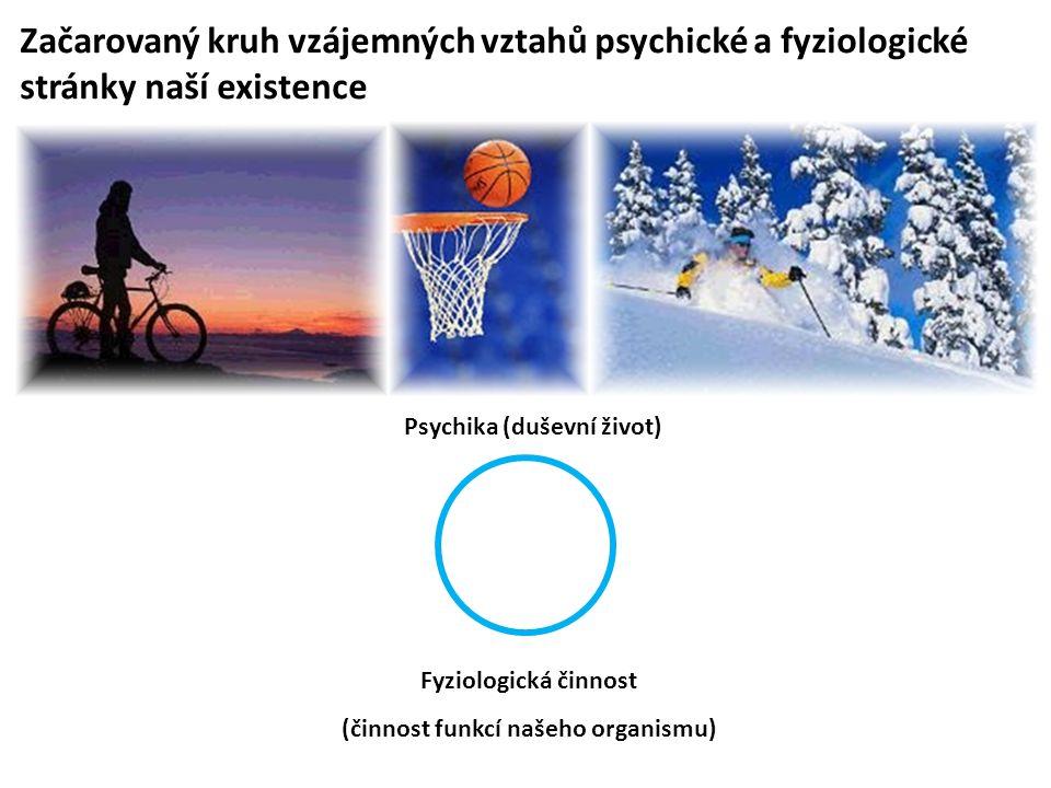Začarovaný kruh vzájemných vztahů psychické a fyziologické stránky naší existence Psychika (duševní život) Fyziologická činnost (činnost funkcí našeho organismu)