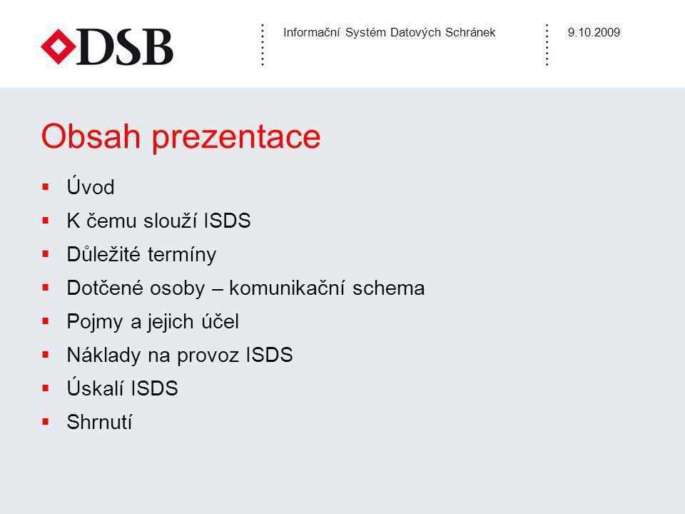 Informační Systém Datových Schránek9.10.2009 Obsah prezentace  Úvod  K čemu slouží ISDS  Důležité termíny  Dotčené osoby – komunikační schema  Po