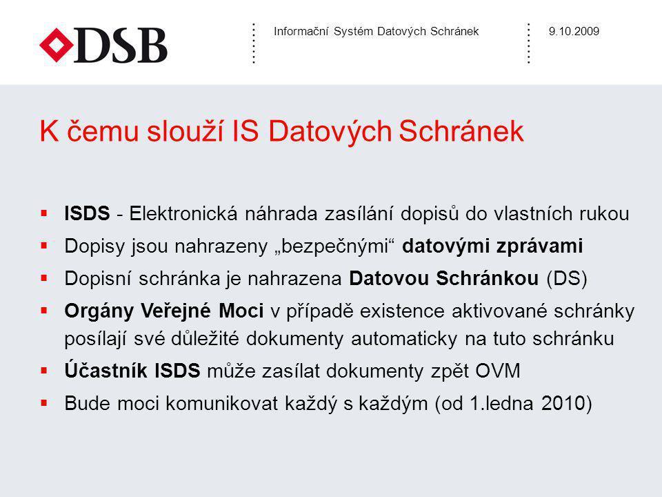 Informační Systém Datových Schránek9.10.2009 K čemu slouží IS Datových Schránek  ISDS - Elektronická náhrada zasílání dopisů do vlastních rukou  Dop