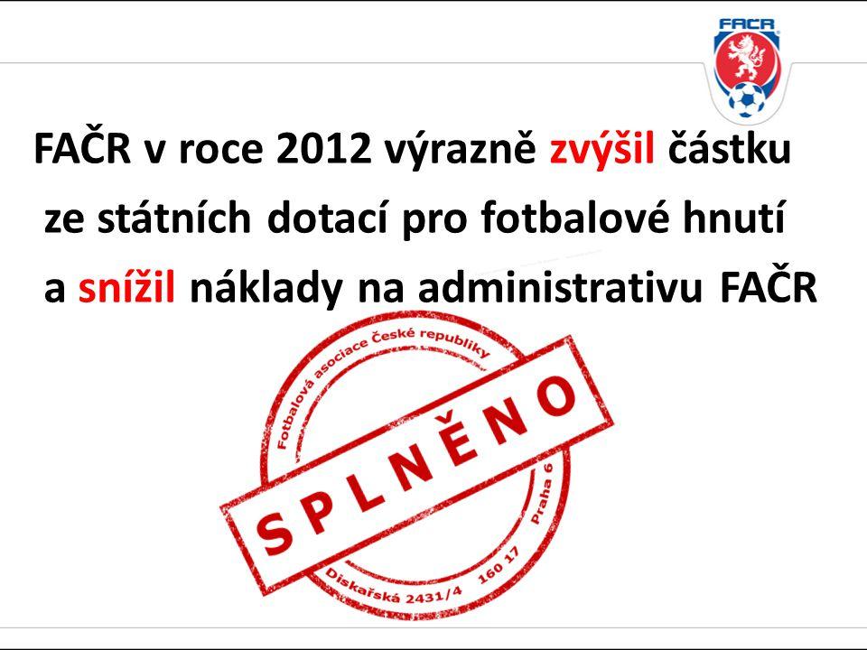 FAČR v roce 2012 výrazně zvýšil částku ze státních dotací pro fotbalové hnutí a snížil náklady na administrativu FAČR
