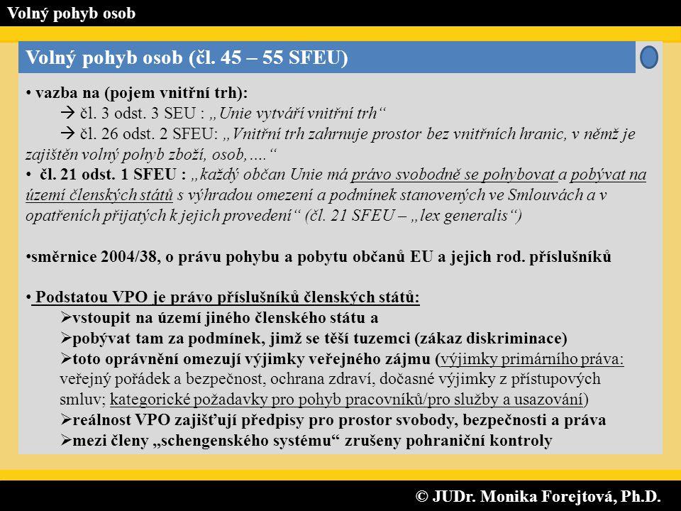 © JUDr. Monika Forejtová, Ph.D. © JUDr. Monika Forejtová, Ph.D. Volný pohyb osob Volný pohyb osob (čl. 45 – 55 SFEU) • vazba na (pojem vnitřní trh): 