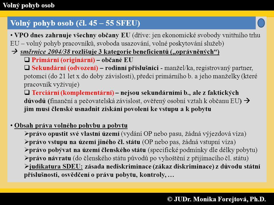 © JUDr. Monika Forejtová, Ph.D. © JUDr. Monika Forejtová, Ph.D. Volný pohyb osob Volný pohyb osob (čl. 45 – 55 SFEU) • VPO dnes zahrnuje všechny občan