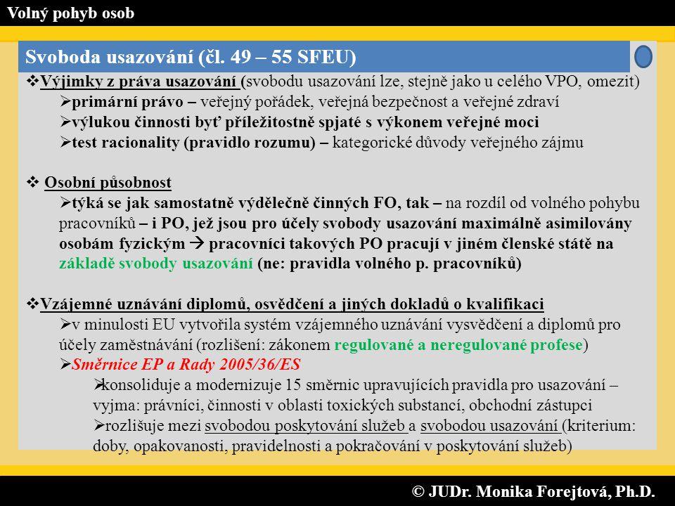 © JUDr. Monika Forejtová, Ph.D. © JUDr. Monika Forejtová, Ph.D. Volný pohyb osob Svoboda usazování (čl. 49 – 55 SFEU)  Výjimky z práva usazování (svo
