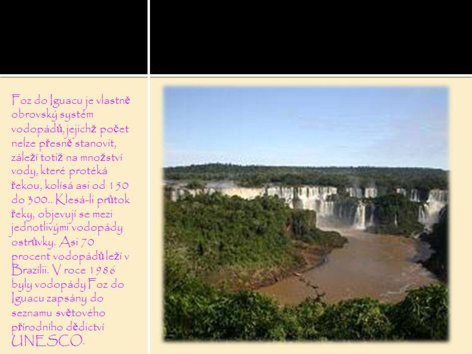 Foz do Iguacu je vlastn ě obrovský systém vodopád ů, jejich ž po č et nelze p ř esn ě stanovit, zále ž í toti ž na mno ž ství vody, které protéká ř ekou, kolísá asi od 150 do 300..