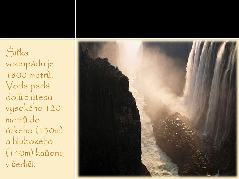 Ší ř ka vodopádu je 1800 metr ů. Voda padá dol ů z útesu vysokého 120 metr ů do úzkého (130m) a hlubokého (140m) ka ň onu v č edi č i.