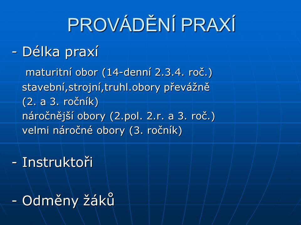 PROVÁDĚNÍ PRAXÍ - Délka praxí maturitní obor (14-denní 2.3.4.